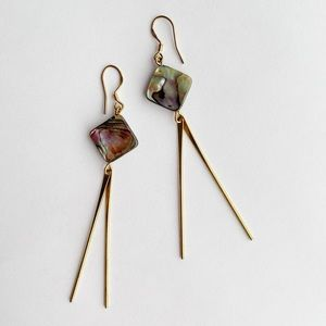 Mother Of Pearl 925 Silver Gold Plated Earrings